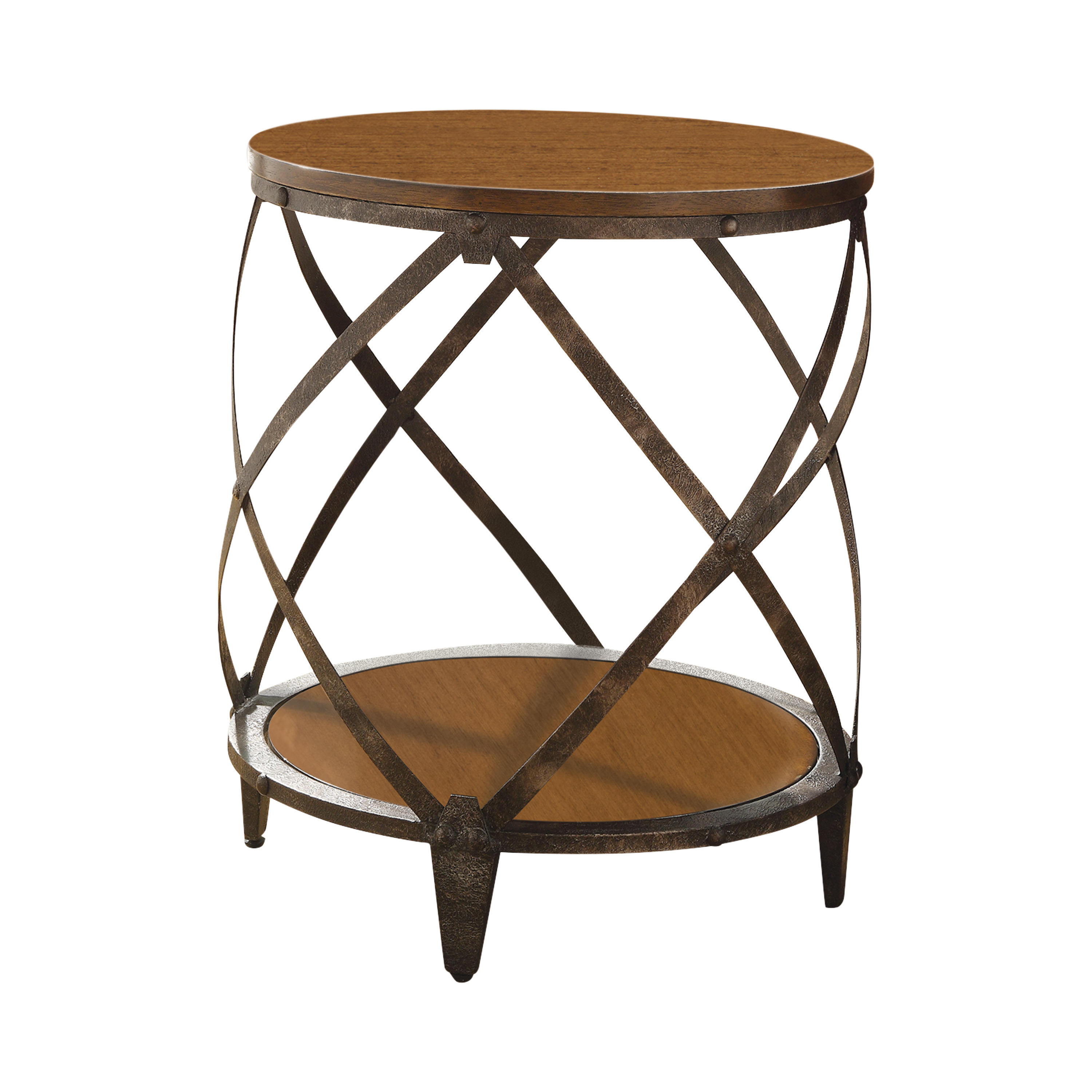 Round metal accent table brown and black