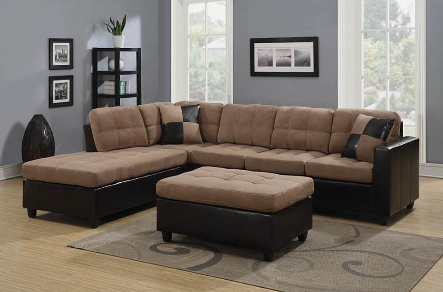 Mallory upholstered sectional tan and dark brown