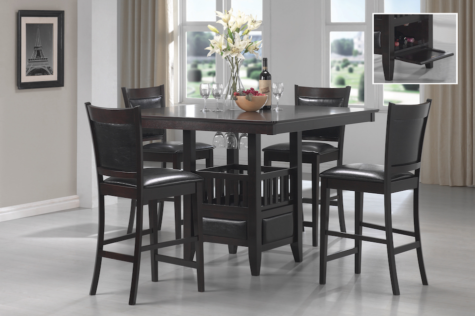 Jaden square counter height table & cushioned stool set