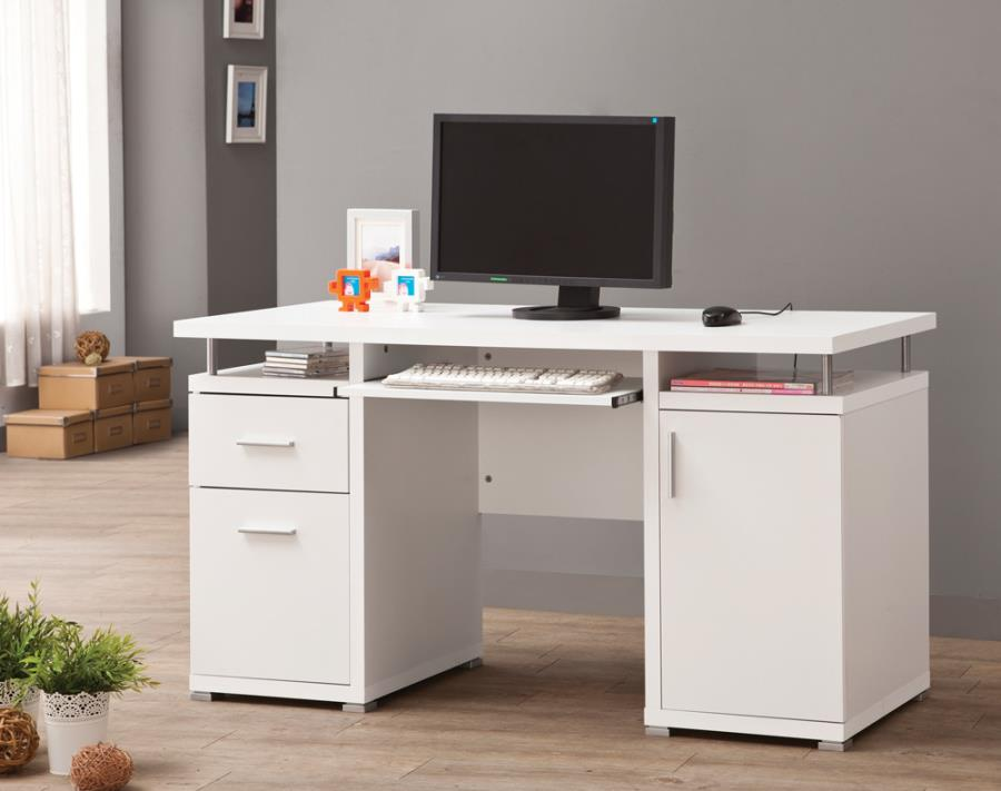 Tracy 2-drawer computer desk white
