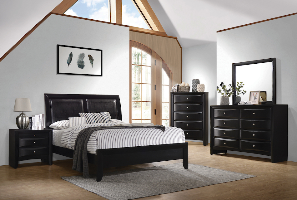 Cal king 4 pc set, briana (bed, dresser, nightstand, mirror)