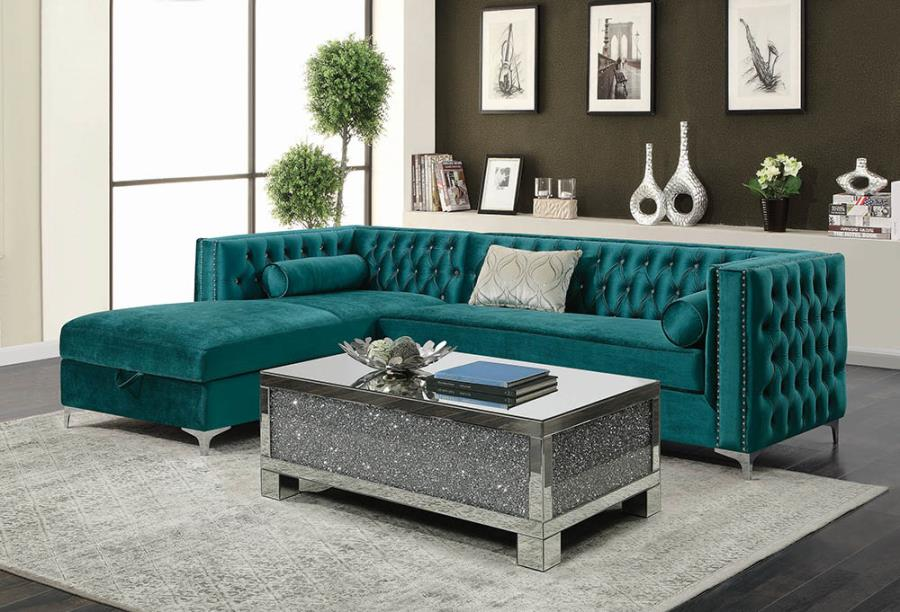 Bellaire button-tufted upholstered sectional teal